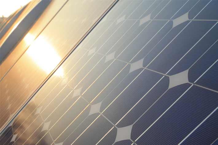 Sunlight Hits a Solar Panel Array