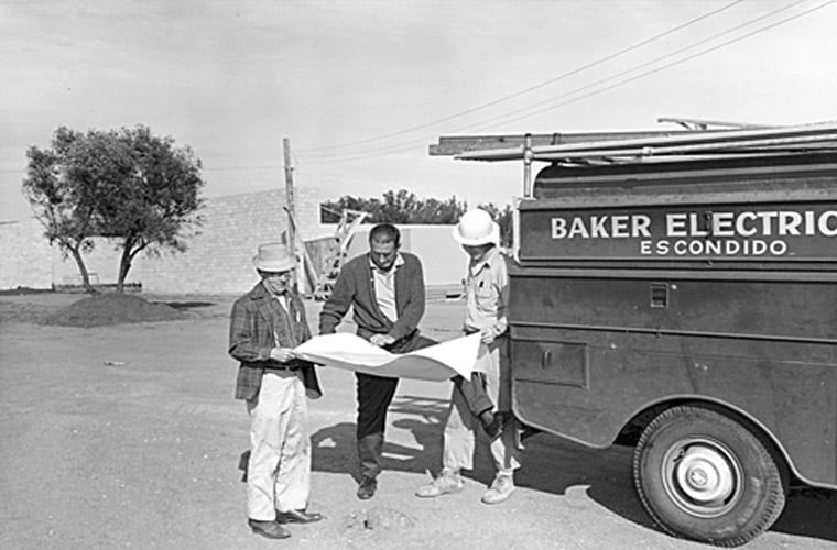 A vintage photo of Baker Electric team, from the 1950s
