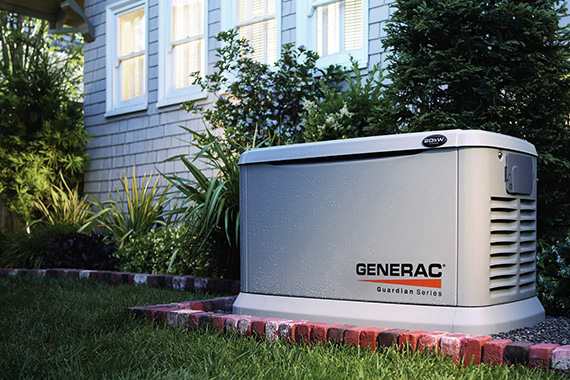 Generator behind house