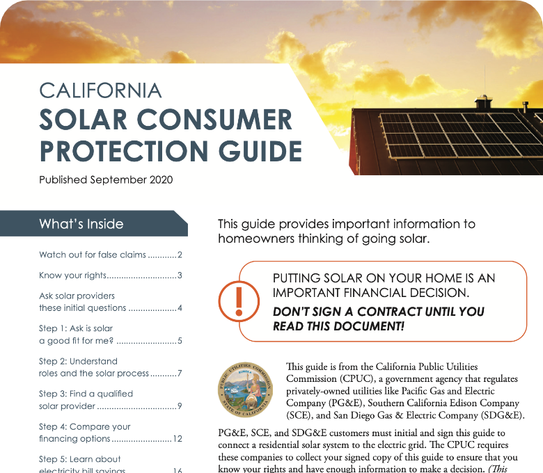 California Solar Consumer Protection Guide