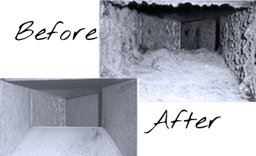 Before and After cleaning ventilation ducts
